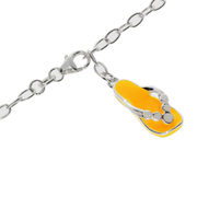 Ankle bracelet trace with a yellow sandal pendant 925/-