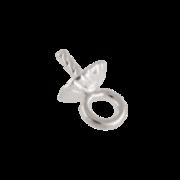 Spetsögla med räfflat pärlskål 925/-, 4 mm