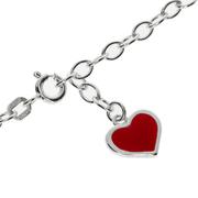 Ankelkæde anker åben med rødt hjertevedhæng 925/-