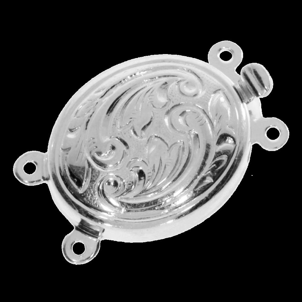 Oval lås med antik mönster 925/-, 2 kedjarader