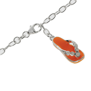 Ankle bracelet trace with a orange sandal pendant 925/-