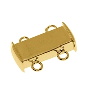 Polished magnet clasp for two chain rows 925/- gold-plated