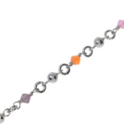 Ankle bracelet with coloured glass stones 925/-