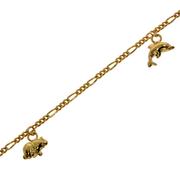 Armbånd figaro facet med bamse-, delfin- og elefantcharms 585/-