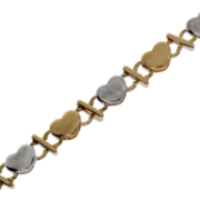 Bracelet with heart-shaped links 585/- yellow gold & 585/- white gold